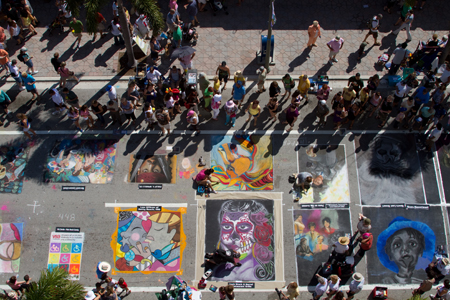 Aerial image of people attending Street Painting event