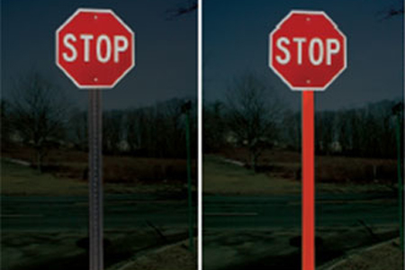 Image of stop sign with BriteSide Reflective Panel installed