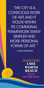 Vacant storefront project window clings - Lewis Mumford quote