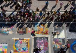 Aerial image of street  painting festival artwork